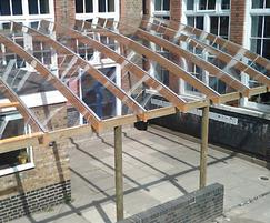 Timber / wooden / perspex canopy