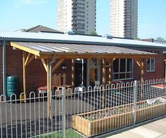 Timber / wooden / perspex entrance canopy