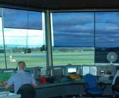 Anti-glare shading for air traffic control towers
