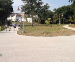 Porous resin bound park pathways