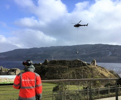 Delivery of surfacing by helicopter to Urquhart Castle