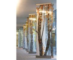 Birch tree sculptural glass installation