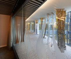 Birch Walk sculptural glass panels