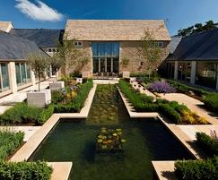 Courtyard garden with cruciform lily pond