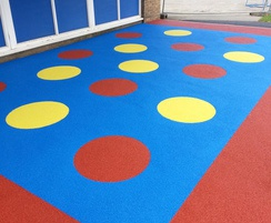 Bold safety surfacing in play area