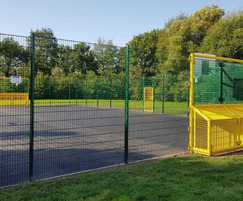 MUGA sports court with 3m-high fencing