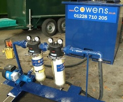 Groundwater filter skid with screening tank and pump