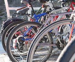 10 bays of Cyclepods' Easylift Premium 2-tier bike rack