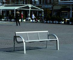 Stella contemporary outdoor bench, wire mesh