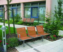 Topsit outdoor seating unit, Pagwood composite slats