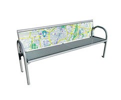 Printed bench backrest with map and route information