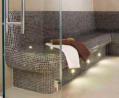 Bella steam room by Dröm UK with marble benches