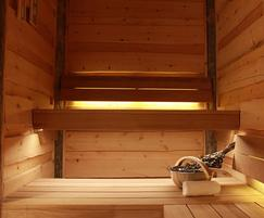 Kelo rustic timber used on sauna walls and ceiling