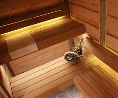 Scandinavian timber in sauna