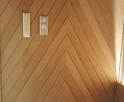 'Chevron' style feature wall in Aspen timber
