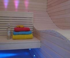 The sauna interior is clad in vertical aspen panels