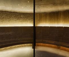 The steam room has bronze mosaic custom mix tiles