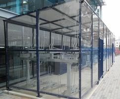 Avon cycle shelter with clear sides, back and roof