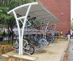 Higher Kennet cycle shelter and Josta 2-tier bike racks