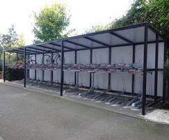 Avon shelter with Josta 2-tier racks and back cladding