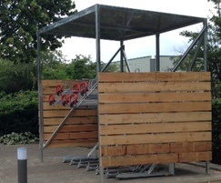 Avon cycle shelter with timber cladding