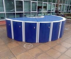 Velo-Safe bike lockers in a semi circle