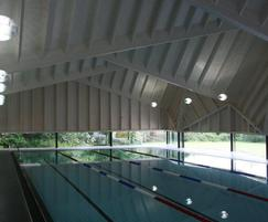 Interior of swimming pool building