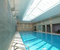 stretch ceiling system for swimming pool