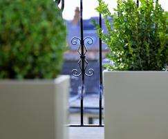 Bespoke powder coated steel planters at Hans Place