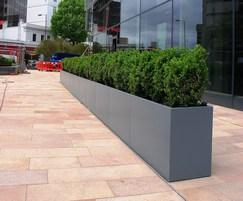 Planters are powder-coated Blue Grey (RAL 7031)