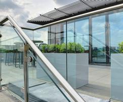 Bespoke powder-coated steel planters for roof terrace