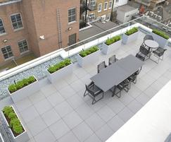 Bespoke steel planters – lower roof terrace