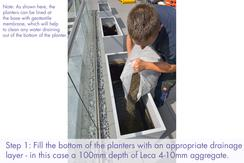 Commercial planter installation: fill the bottom of the