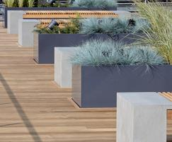Bespoke steel terrace planters, Warner Brothers