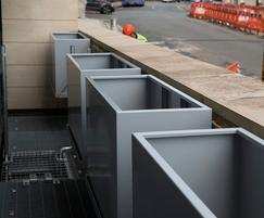 Bespoke steel trough planters, University of Bristol