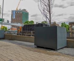 Bespoke steel tree planters for Telford Homes