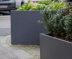 Bespoke powder coated planters for public realm