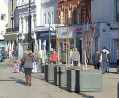 Steel tree planters for Cheltenham pedestrian area
