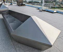 Detailing of bespoke stainless steel planter-benches