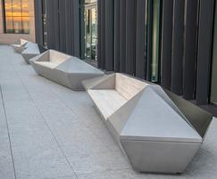 Bespoke stainless steel planter-benches, Jersey