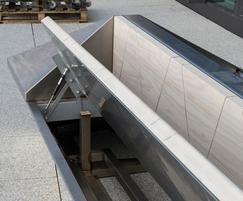 Features of the bespoke stainless steel planter-benches