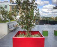 Zintec steel polyester powder-coated planters for hotel