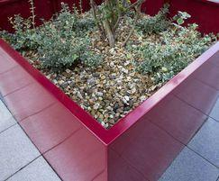 Bespoke steel planters in ruby red, Hampton by Hilton