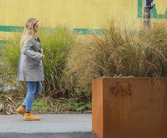 Corten steel planters for Colchester walkway