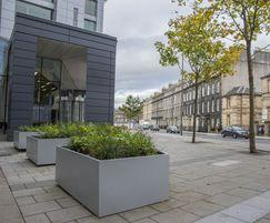 12 steel planters were commissioned for offices