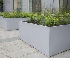 Detail of bespoke steel planters, Edinburgh