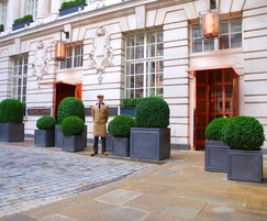 Steel planters clad in lead sheet for Rosewood London