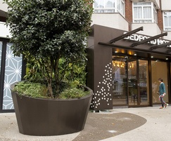 Bespoke zintec steel planter for hotel entrance