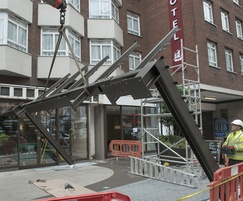 Erection of entrance steelwork