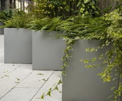Steel planters in University courtyard